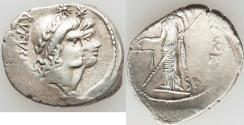 Ancient Coins - Mn. Cordius Rufus (ca. 46 BC). AR denarius (3.66 gm). Choice VF. Rome. RVFVS • III • VIR,