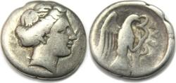 Ancient Coins - EUBOEA, Chalkis. Circa 338-308 BC. AR Drachm (16 mm, 3.42 gm).