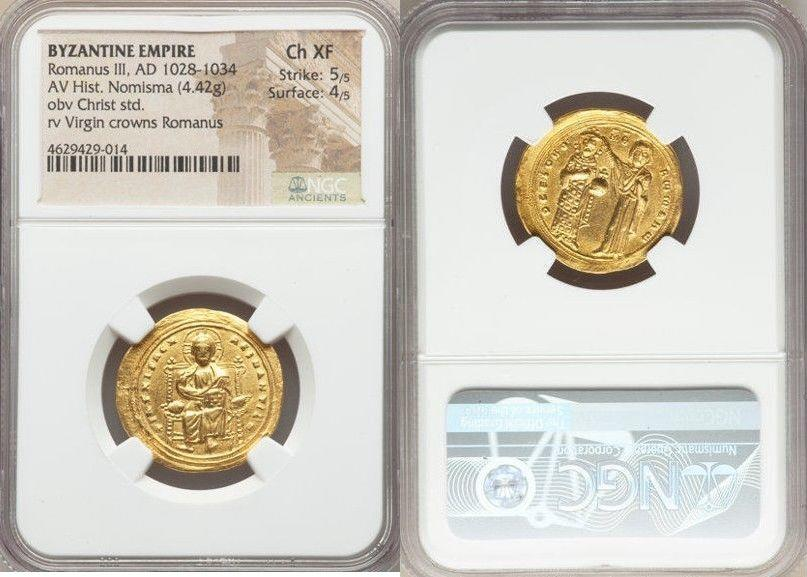 Ancient Coins - Romanus III Argyrus (AD 1028-1034). AV histamenon nomisma (23mm, 4.42 gm, 7h). NGC