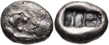 KINGS of LYDIA. Kroisos. Circa 564/53-550/39 BC. AR Hemistater