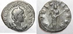 Ancient Coins - Roman Empire - Silver denarius of empress Herennia Etruscilla, wife of Trajanus Decius, AD 249-251.