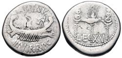 Ancient Coins - The Triumvirs. Mark Antony. Autumn 32-spring 31 BC. AR Denarius (17.5mm, 3.52 g, 6h).