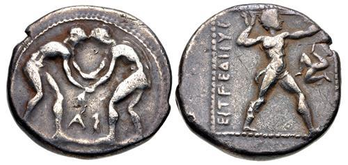 Ancient Coins - PAMPHYLIA, Aspendos. Circa 380/75-330/25 BC. AR Stater (21mm, 10.53 g, 12h). Two wrestlers