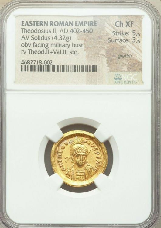 Ancient Coins - Theodosius II, Eastern Roman Empire (AD 402-450). AV solidus (20mm, 4.32 gm, 7h). NGC