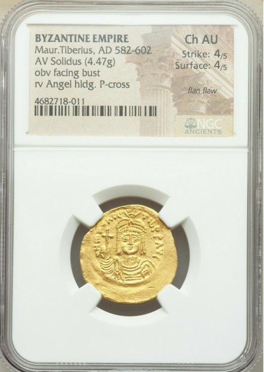 Ancient Coins - Maurice Tiberius (AD 582-602). AV solidus (22mm, 4.47 gm, 6h). NGC Choice AU