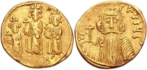 Constans II, with Constantine IV, Heraclius, and Tiberius. 641-668. AV Solidus (19mm, 4.25 g, 6h). Constantinople mint,