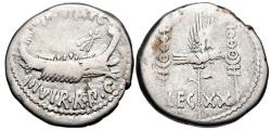 Ancient Coins - The Triumvirs. Mark Antony. Autumn 32-spring 31 BC. AR Denarius (17.5mm, 3.41 g, 6h).