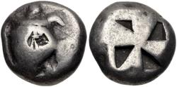 Ancient Coins - ISLANDS off ATTICA, Aegina. Circa 525-475 BC. AR Stater (18mm, 12.01 g). Sea turtle,