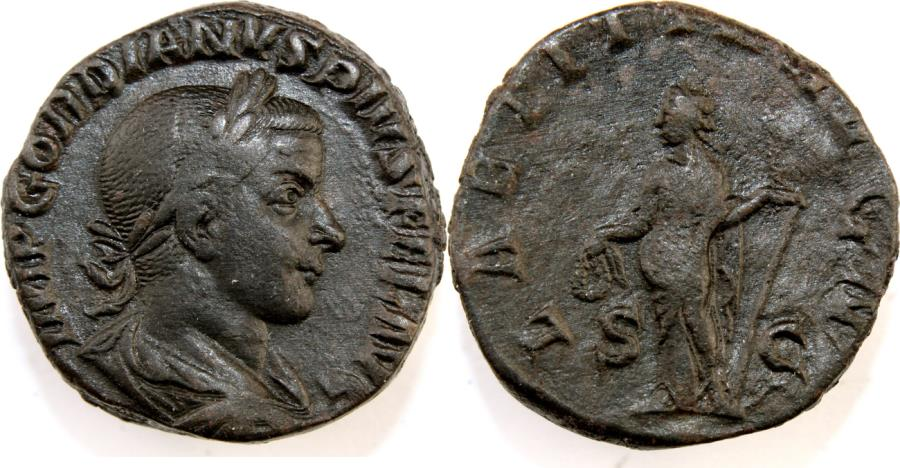 Ancient Coins - Gordian III. AD 238-244. Æ Sestertius (27mm, 18.31 gm). Rome mint.