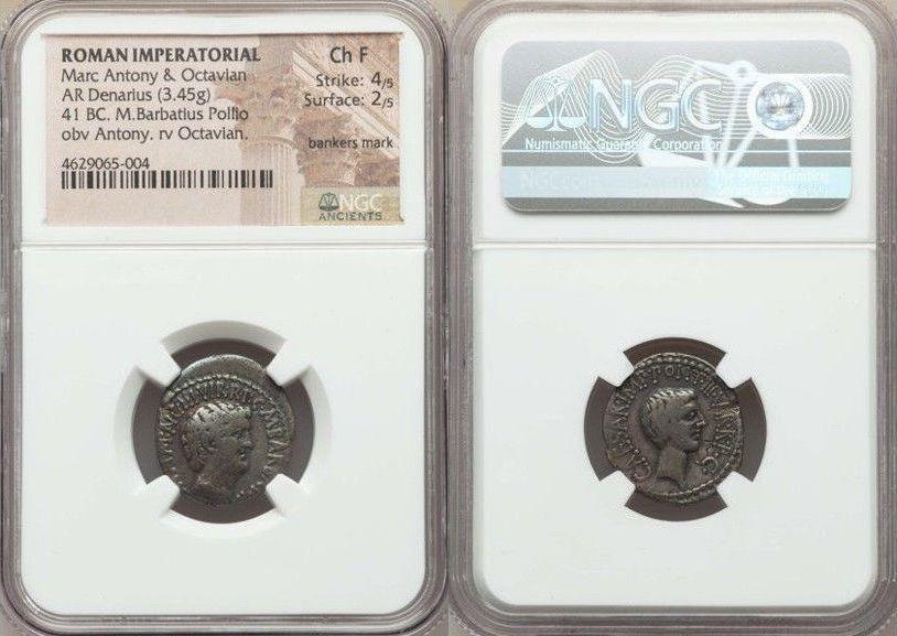 Ancient Coins - Mark Antony and Octavian, as Triumvirs and Imperators (43-31 BC). AR denarius