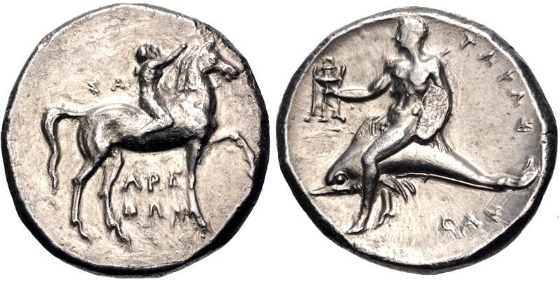 Ancient Coins - CALABRIA, Tarentum. Circa 280 BC. AR Nomos (21mm, 7.88 g, 7h). Youth on horseback right, crowning horse; ΣA to left, APE/ΘΩN in two lines below / Phalanthos, holding tripod, astrid
