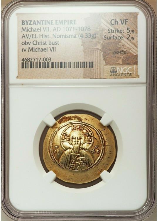 Ancient Coins - Michael VII Ducas (AD 1071-1078). AV/EL histamenon nomisma scyphate (28mm, 4.33 gm, 6h). NGC