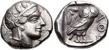 Ancient Coins - ATTICA, Athens. Circa 454-404 BC. AR Tetradrachm (24mm, 17.22 g, 1h). Helmeted head of Athena