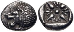 Ancient Coins - IONIA, Miletos. Late 6th-early 5th century BC. AR Diobol (10mm, 1.17 g). Forepart of lion right,