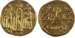 Ancient Coins - Heraclius, with Heraclius Constantine and Heraclonas. 610-641. AV Solidus (19mm, 4.39 g).