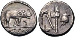 Ancient Coins - The Caesarians. Julius Caesar. April-August 49 BC. AR Denarius (16mm, 3.82 g, 1h). Military mint