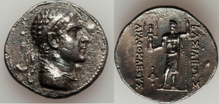 Ancient Coins - BACTRIAN KINGDOM. Agathocles (ca. 185-170 BC). AR tetradrachm (30mm, 16.19 gm, 12h).