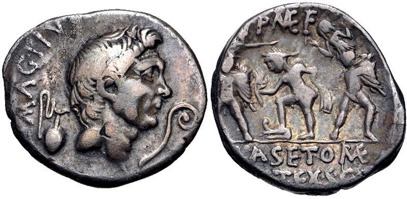 Ancient Coins - The Pompeians. Sextus Pompey. 37/6 BC. AR Denarius (19.5mm, 3.77 g, 11h). Uncertain Sicilian mint,