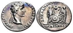 Ancient Coins - Augustus. 27 BC-AD 14. AR Denarius (19mm, 3.87 g, 1h). Lugdunum