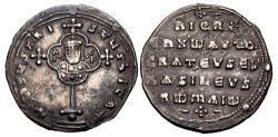 Ancient Coins - Nicephorus II Phocas. 963-969. AR Miliaresion (22mm, 2.68 g, 6h). Constantinople mint.