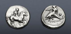 Ancient Coins - CALABRIA, Tarentum. Circa 365-355 BC. AR Nomos (21mm, 7.60 g, 5h).