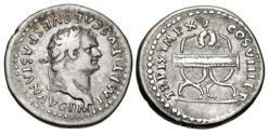 Ancient Coins - Titus. AD 79-81. AR Denarius (18.5mm, 3.35 g, 6h). Rome mint.