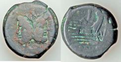 Ancient Coins - Anonymous (ca. 169-158 BC). AE as (26.52 gm). VG. Rome. Laureate head of Janus