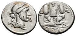 Ancient Coins - The Caesarians. Julius Caesar. Late 46-early 45 BC. AR Denarius (16.5mm, 3.71 g, 5h). Military mint