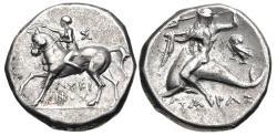 Ancient Coins - CALABRIA, Tarentum. Circa 272-240 BC. AR Nomos (19.5mm, 6.38 g, 10h).