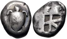 Ancient Coins - ISLANDS off ATTICA, Aegina. Circa 525-480 BC. AR Stater (16.5mm, 12.17 g, 3h). Sea turtle,