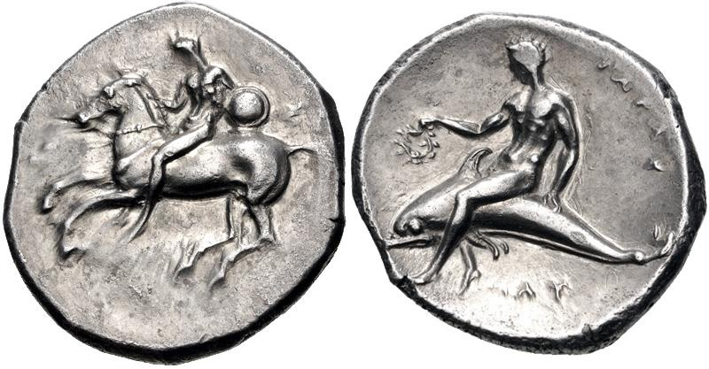 Ancient Coins - CALABRIA, Tarentum. Circa 280 BC. AR Nomos (21mm, 7.87 g, 7h).