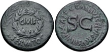 Ancient Coins - Augustus. 27 BC-AD 14. Æ Sestertius (37mm, 28.41 g, 6h). Rome mint; C. Gallius Lupercus, moneyer.