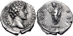 Ancient Coins - Marcus Aurelius. As Caesar, AD 139-161. AR Denarius (18mm, 3.46 g, 12h). Rome mint