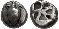 Ancient Coins - ISLANDS off ATTICA, Aegina. Circa 525-480 BC. AR Stater (17mm, 11.90 g, 1h). Sea turtle,