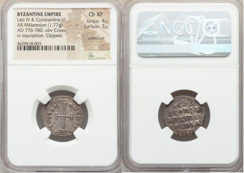 Ancient Coins - Leo IV the Khazar and Constantine VI (AD 780-797). AR miliaresion (20mm, 1.77 gm, 12h). NGC