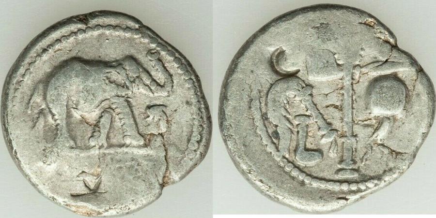 Ancient Coins - Julius Caesar, as Dictator (49-44 BC). AR denarius (19mm, 3.41 gm, 6h).