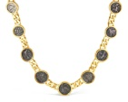 18kt Yellow Gold Necklace, set with 9 Ancient Greek Silver Coins Sikyonia Hemidrachm c.4th century BC