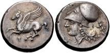 Ancient Coins - CORINTHIA, Corinth. Circa 375-300 BC. AR Stater (20mm, 8.44 g, 8h). Pegasos flying left