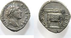 Ancient Coins - Antoninus Pius. AD 138-161. AR Denarius (3.42). Rome mint. Struck AD 145-147.