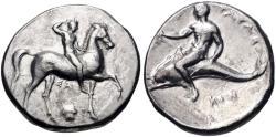 Ancient Coins - CALABRIA, Tarentum. Circa 302 BC. AR Nomos (22mm, 7.14 g, 3h).