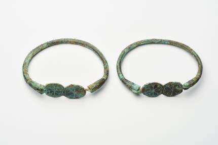 Ancient Coins - Ancient Byzantine Matching pair of bronze bracelets With Crosses c.5th cent AD.