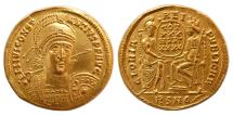 Ancient Coins - ROMAN EMPIRE; Constantius II. 337-361 AD. Gold Solidus. Choice FDC. Lustrous.