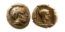 LESBOS, Mytilene. Circa 412-378 BC. EL Hekte. Ares & Amazon.