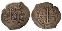 Ancient Coins - SPANISH COLONIAL, Philip IV. 1621-1665. AR 8 Reales. Potosi, dated 1664E, 3 Dates. Lovely strike.