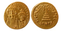 BYZANTINE EMPIRE. Constans II, with Constantine IV. 641-668 AD. AV Solidus. Lustrous. F.D.C.