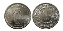 World Coins - SWITZERLAND. 1939.  Silver 2 Franc.