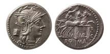 ROMAN REPUBLIC. C. Marcius Mn. f. 134 BC. AR Denarius. Lovely strike.