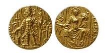 Ancient Coins - NDIA. Kushan Kings. Vasudeva II. Circa 290-310 A.D. Gold Dinar. Choice FDC. Lustrous.