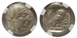 Ancient Coins - ATTICA, Athens. 440-404 BC. AR Tetradrachm. Fine Style. Fully Lustrous. NGC-MS.