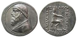 Ancient Coins - KINGS OF PARTHIA, Mithradates II. 121-91 BC. Silver Tetradrachm.  From The Sunrise Collection.